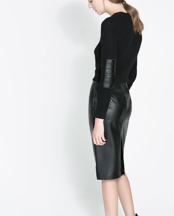 SWEATER WITH FAUX LEATHER ELBOW PATCHES from Zara 59.90 with leather skirt or alternative with red leather skirt (prefer grey)