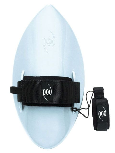 POD Handboard. Hand is strapped in the natural swimming position, directly above the board's pivot point and keel fin