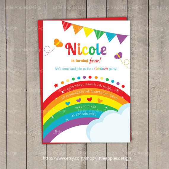 Rainbow Invitation / Rainbow Birthday by LittleApplesDesign, $12.00