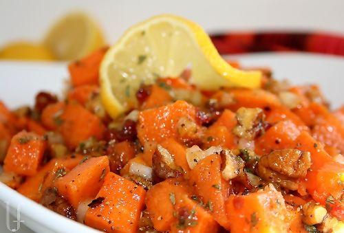 SWEET POTATO SALAD WITH TOASTED PECANS AND DRIED CRANBERRIES