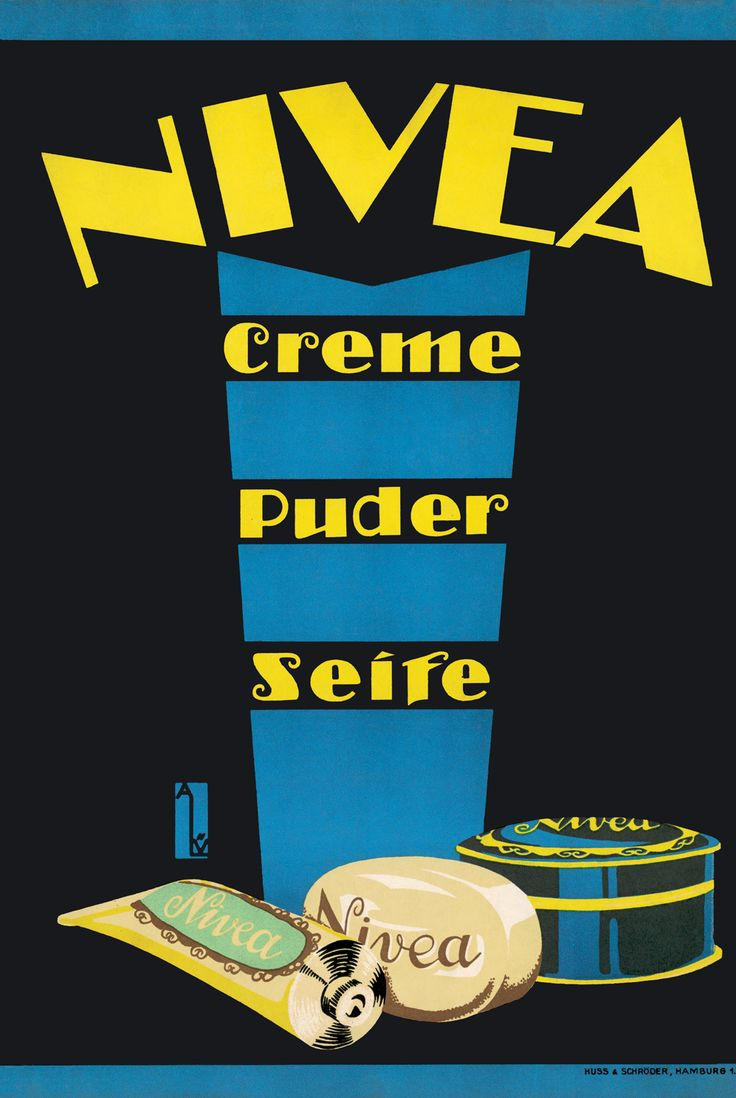 Soap - the NIVEA assortment is expanding    In 1919 the NIVEA assortment was expanded by the first NIVEA Soap.   One of the first posters from 1922 by Anna Lünemann, shows the product range  comprising a Powder, a Creme tube and the Soap.