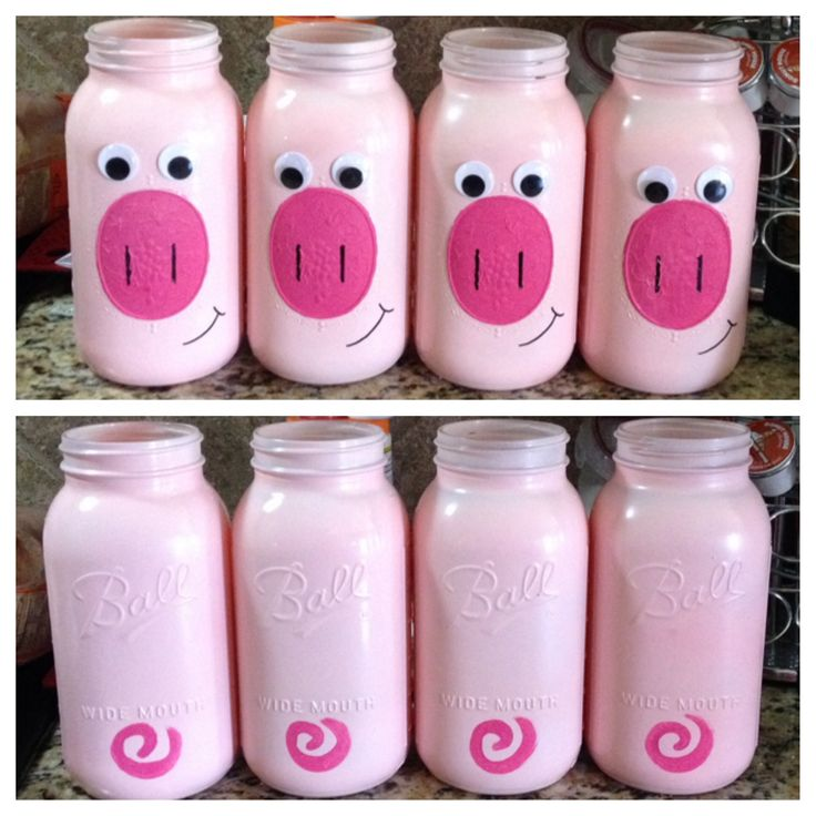 I made mason jar piggy banks for my boys! Mason jar+paint+sharpie+google eyes=AWESOME! Now, I just need something for ears.