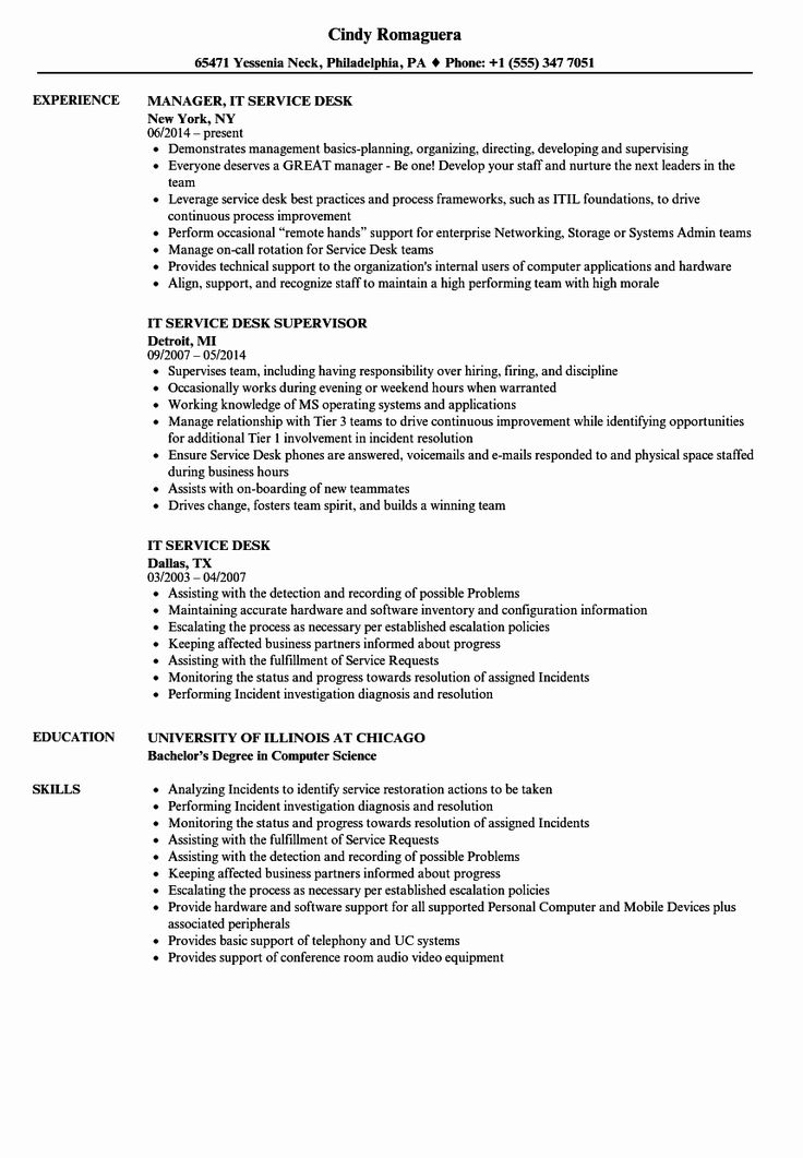 Help Desk Resume Examples Beautiful It Service Desk Resume