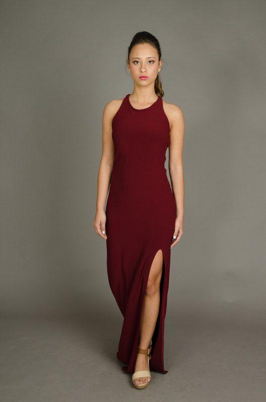 Deep open back maxi dress Maroon dress sexy dress by TaliStudio222
