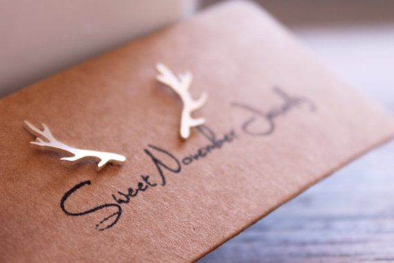 Antler Earrings / Sterling Silver Handmade Antler Studs / Woodland Theme Earrings / Rustic Jewelry / Deer Studs Delicate hand crafted