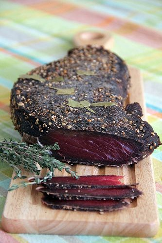 Home made cured meat. The main ingredient is topside beef and natural sea salt for the process. Use of spices and berries can vary to adjust the taste. (Some sugar is used for the curing process.)