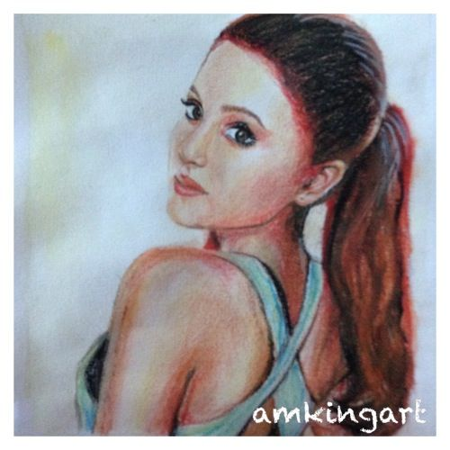 Ariana Grande in watercolour and colour pencils