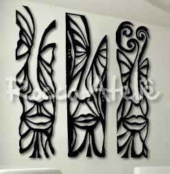 Escultura de Parede - Máscaras Estilizadas