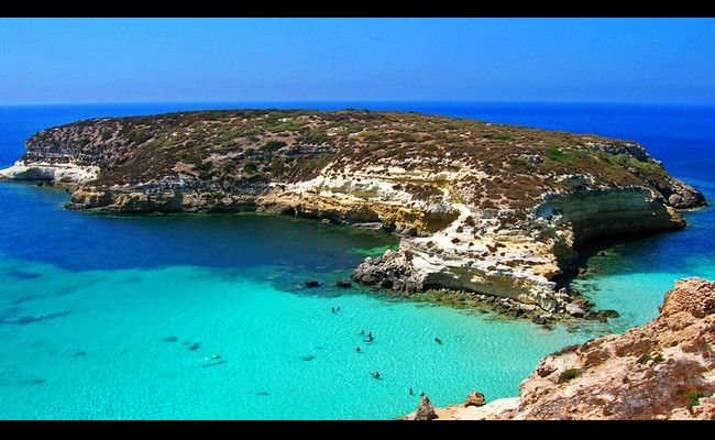 Rabbit Beach, Lampedusa utanför Sicilien.