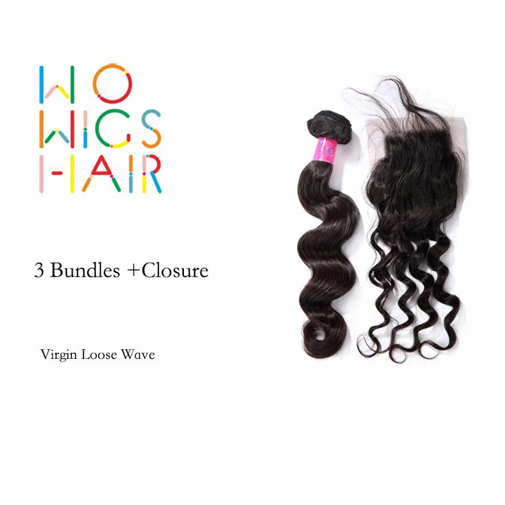 WoWigs Hair Brazilian Virgin Hair Loose Wave 3 Bundles Deal With Top Lace Closure Natural Color 1B