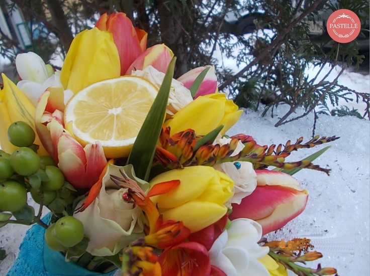 early spring wedding bouquet - snow, lemon, tulips, all with a turquoise flavor