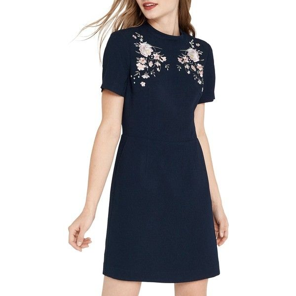 Oasis Oriental Embroidered Dress, Navy ($71) ❤ liked on Polyvore featuring dresses, blue maxi dress, short maxi dress, floral midi dress, long-sleeve shift dresses and navy maxi dress