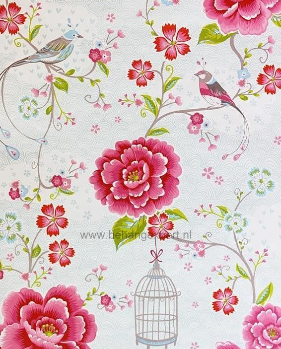 Gekozen behang voor ons meisje!!!!    Eijffinger Pip Studio behang 313012 Birds in Paradise Wit