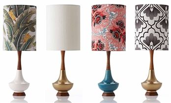 Table lamp, Electra, wears its mid-century influences unmistakably on its sleeve, with  a contemporary grace and a simple elegant finish. Retro Print Revival creates unique, exclusive, one of a kind lamps and lampshades.  #lamp #shade #home #lifeinstyle