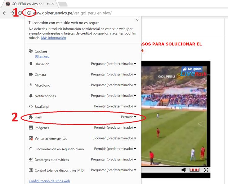 Permitir flash player en un sitio web | Fútbol peruano en vivo