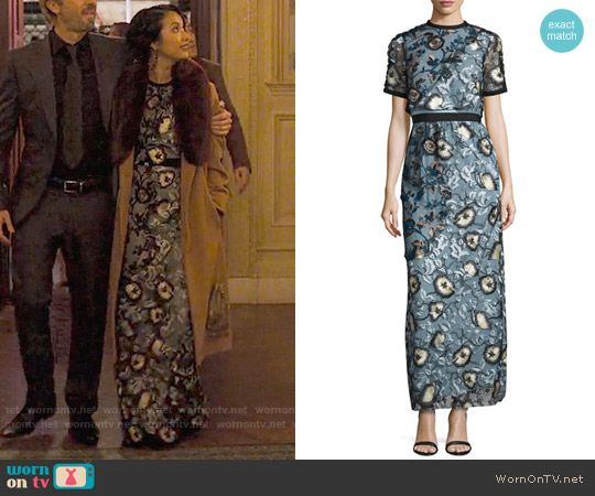 Marianne's floral embroidered gown on Friends from College.  Outfit Details: https://wornontv.net/75778/ #FriendsfromCollege