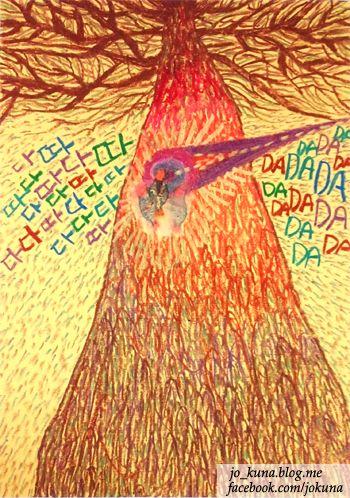 <딱따구리, Woodpecker, oil pastel, 2014>