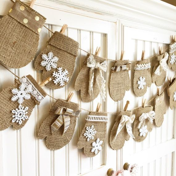 Made-To-Order * Neutral Mittens * burlap bunting for advent calendar, mantel, holiday decor, holiday party
