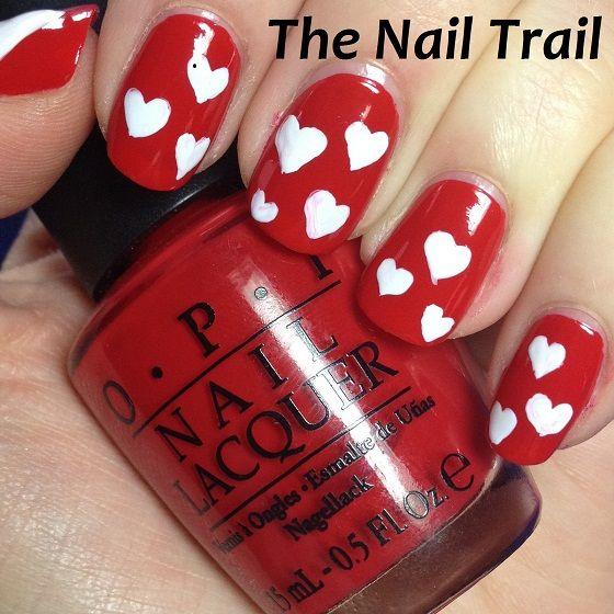 Valentine Manicure White Hearts 2