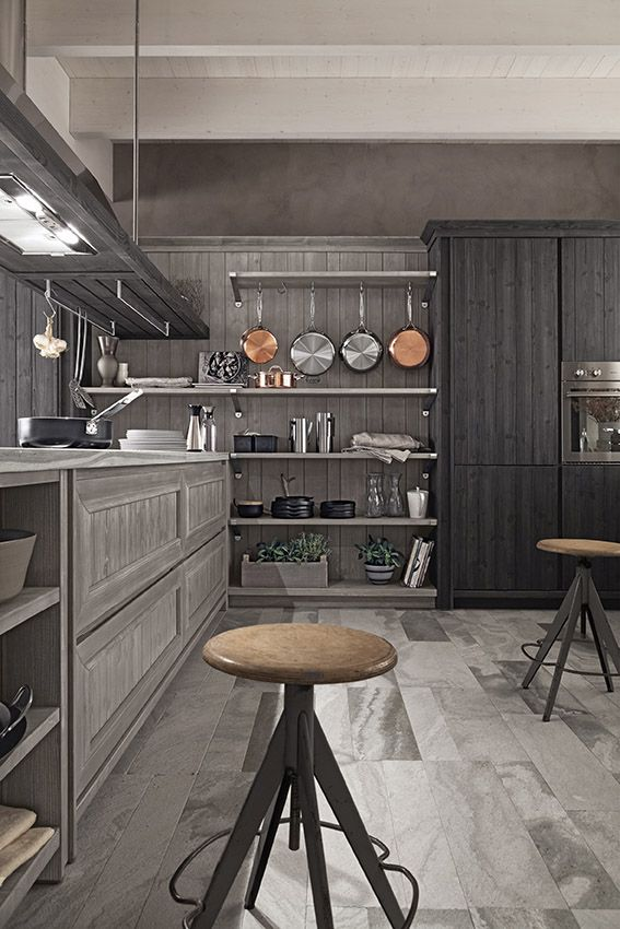 Cucina Maestrale in abete grafite e ardesia di Scandola Mobili. / Maestrale kitchen in spruce with graphite finish and slate finish by Scandola Mobili.  #Maestrale #Scandola #kitchen #cucine