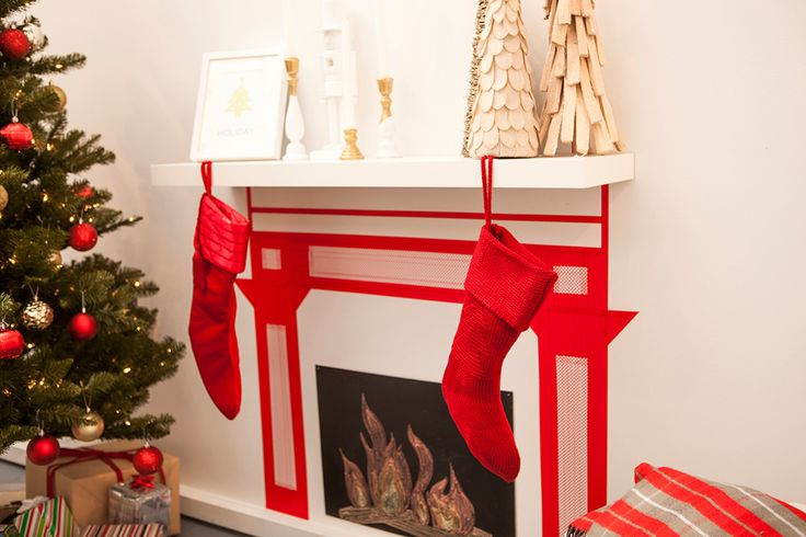 No fireplace? Make one out of washi tape with this easy tutorial.