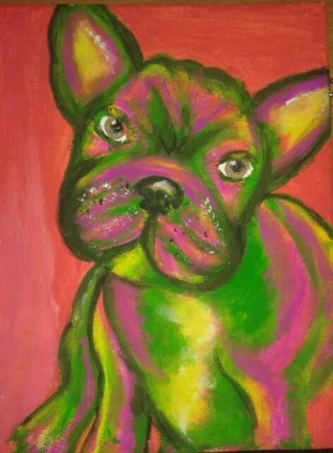 colorful cute french bulldog artwork with acrylics