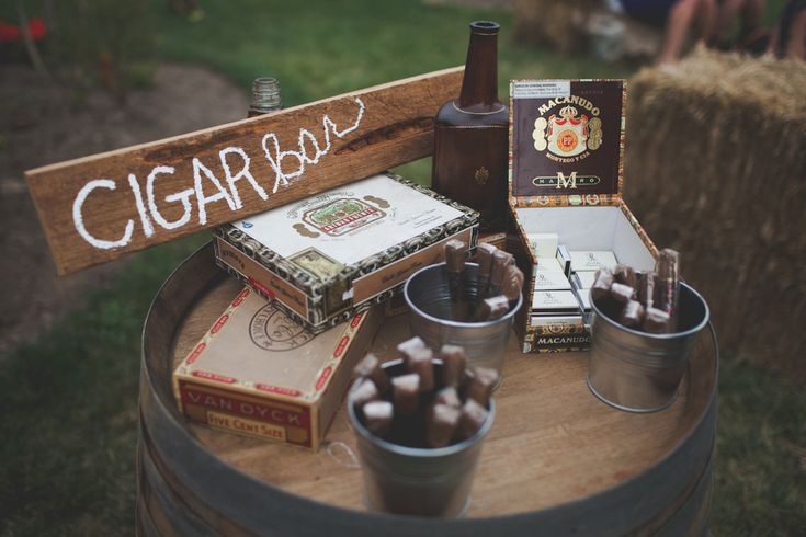 Rustic cigar bar. Use galvanized steel buckets for cigars and matches. Decorate with a few cigar boxes, add a framed sign, maybe a candle or a living green centerpiece. {www.artisansbloom.com}