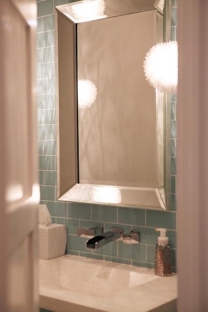 Modern Bathroom Tiffany Blue Subway Tile Beveled