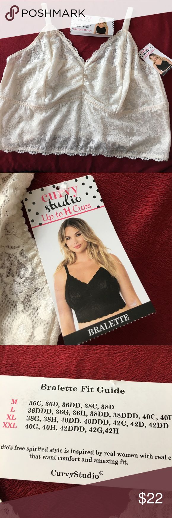 💥YOU ASKED! PLUS size 2XL Lace bralette to H cup! NWT Curvy Studio Long Line cream lace bralette 2XL fits to H cup! See chart pic for sizing. Lightly lined (no padding) Perfect Lace Bralette. Perfect for layering. Convertible Adjustable straps. Retail $34 Curvy Studio Intimates & Sleepwear Bras