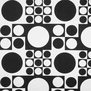 Limited edition of feather filled cushions made from verner pantons geometry pop art monochrome fabric