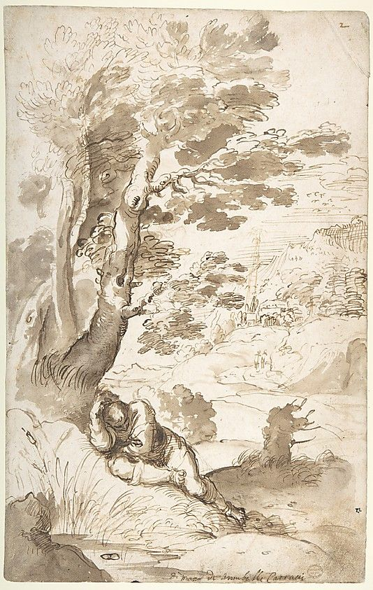 Landscape with Jacob Sleeping Annibale Carracci (Italian, Bologna 1560–1609 Rome) Date: 1560–1609 Medium: Pen and two tones of brown ink, brush and gray-brown wash, over traces of leadpoint or black chalk