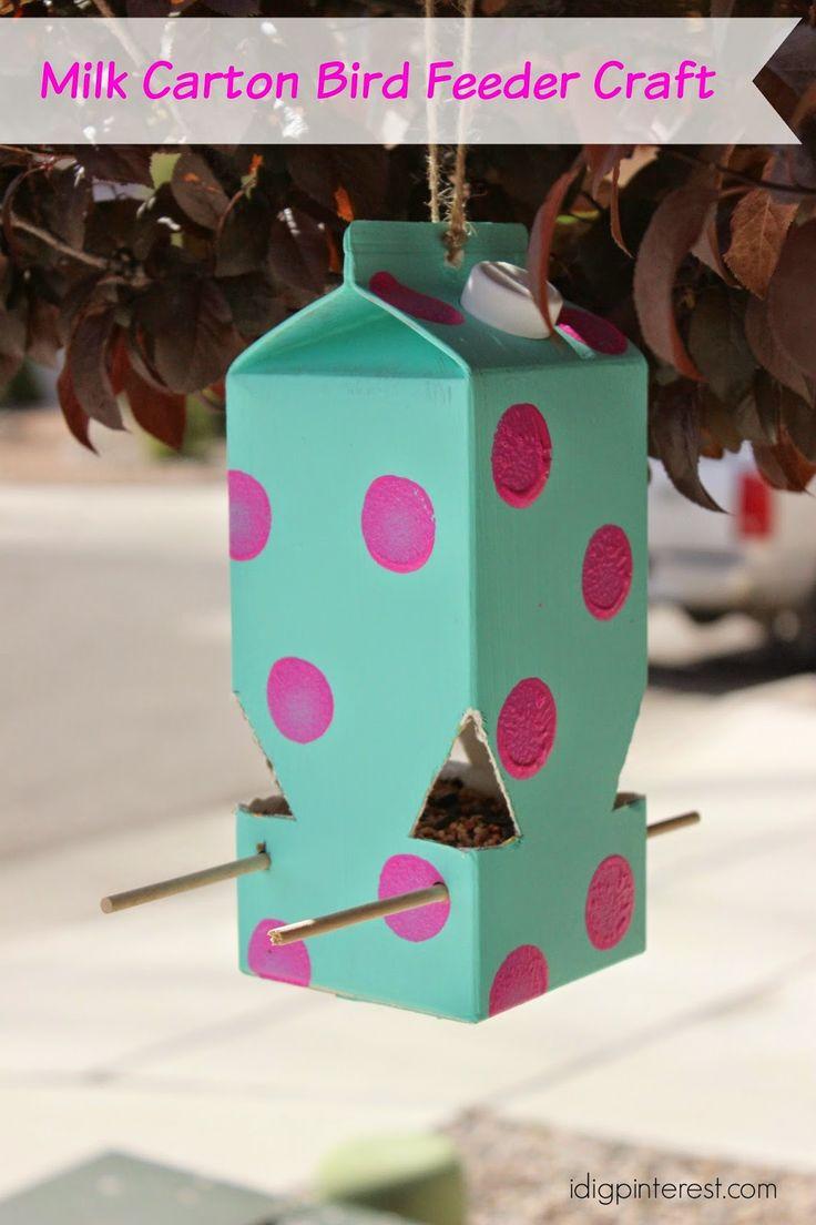 MIlk Carton Bird Feeder by I Dig Pinterest
