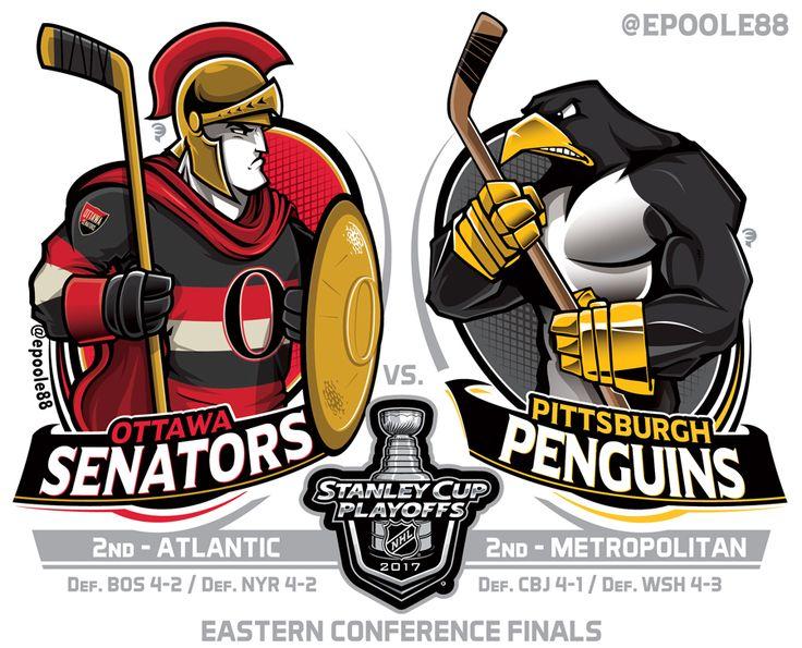 Ottawa Senators versus Pittsburgh Penguins. Finais da Conferência Leste da Copa Stanley de 2017, da NHL.