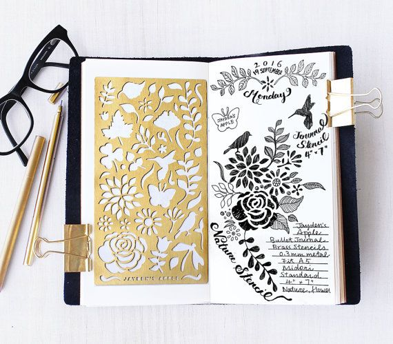 Planner Stencil, kogel Journal Stencil, natuur, bloemen Stencil - past A5 journal & Midori Regular (natuur L)