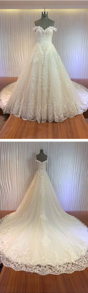 Gorgeous Off Shoulder Sweetheart Zip Up Long A-line Lace Wedding Dress – SposaDesses