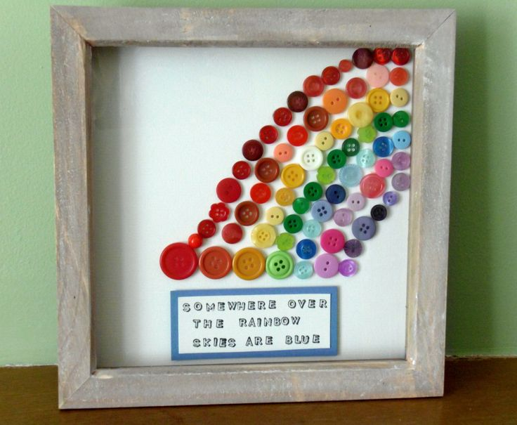 "Somewhere over the rainbow skies are blue.... Frame to brighten any home, 8""x8"" £15"
