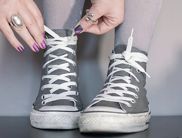 Grey Converse High Tops! Not the ankle ones.. And not a super dark grey. I wear a size 8.