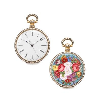 Bovet, Fleurier. A very fine and rare silver gilt, enamel and pearl-set openface centre seconds duplex watch, made for the Chinese market SIGNED BOVET, FLEURIER, NO. 1586, CIRCA 1850 Price realisedCHF 18,750