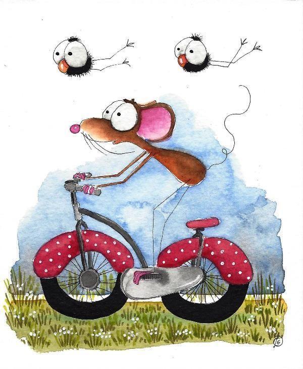 Original watercolor painting whimsical mouse bird crow purple red bike fieldtrip #IllustrationArt