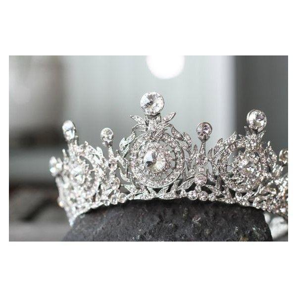 Bridal Crown, Swarovski Crystal Wedding Crown, TANYA Edwardian Crystal... ❤ liked on Polyvore featuring accessories, hair accessories, tiara crown, bridal tiaras, crystal tiaras crowns, crystal tiara and floral crown
