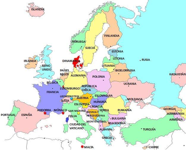 Resultado de imagen para mapa europeo y el nombre de sus paises
