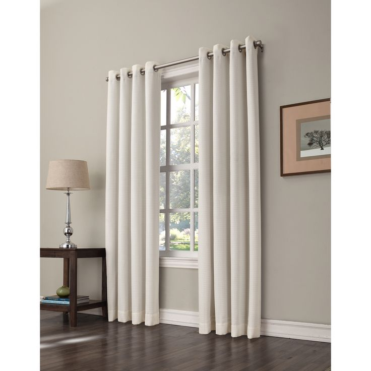Shop Allen Roth 84 In L Room Darkening Solid Ivory Thermal Grommet Window Window Curtain Panel