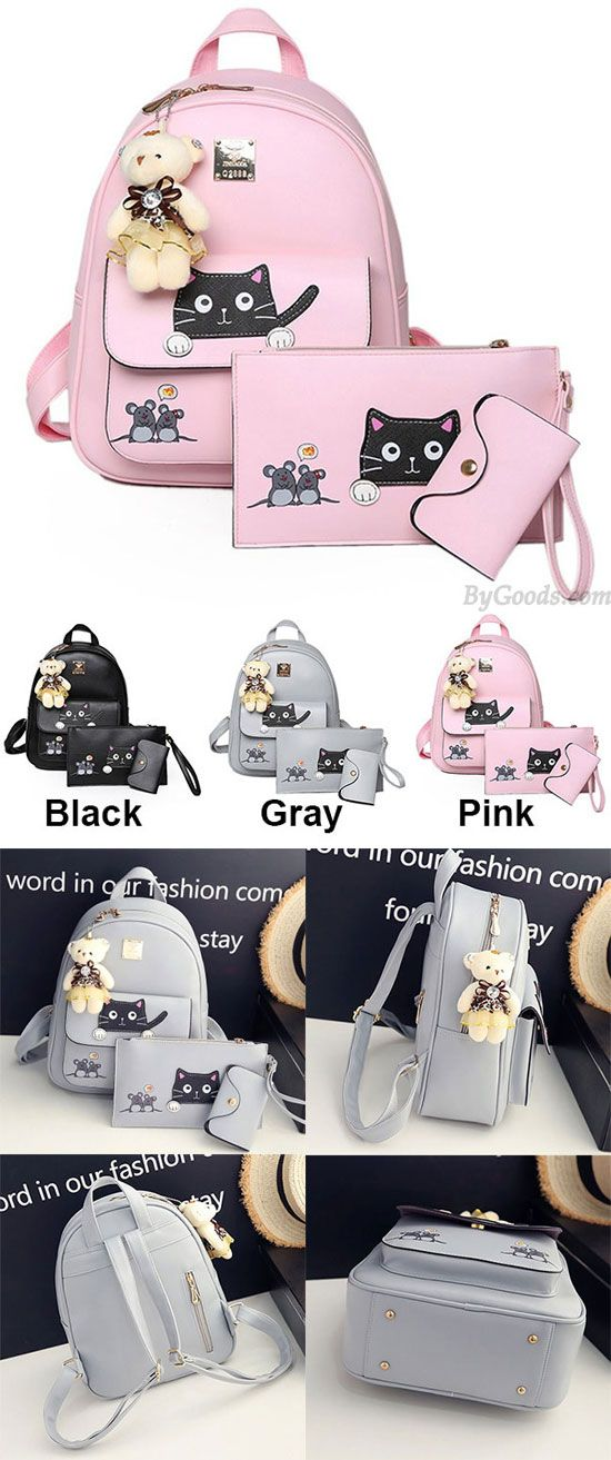 Which color do you like? Cute Cartoon School Bag Gift Bear Doll Mouse Splicing Cat PU Kitty Backpack #cute #cartoon #Backpack #bag #cat #kitty #gift