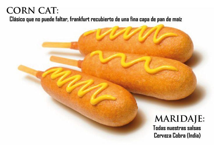Corn Cat: clásico, frankfurt recubierto de pan de maíz