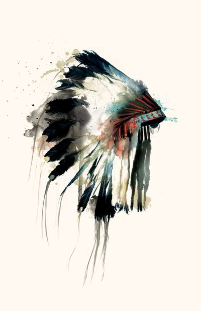 watercolor art. Native American feather headdress. LOVE THIS!!
