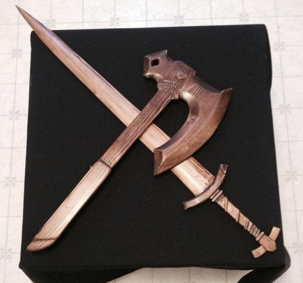 Skyrim Wood Carved Weapons Diy Sculpture Bois Jouets