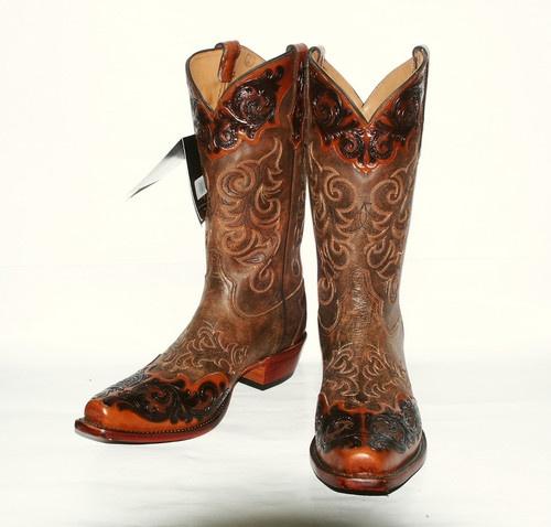 Tony Lama Men's 1006 Signature Series Bourbon Bomber Hand Tooled Western Boot - Damn!!