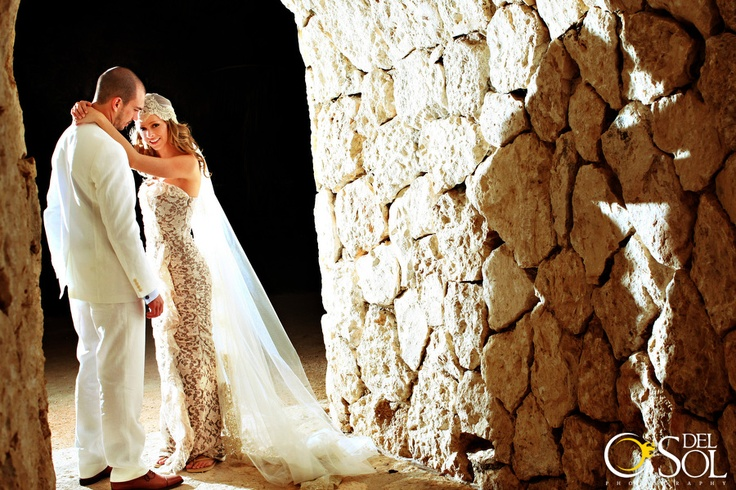 Bride and groom in the many wonderful areas of Xcaret Park, MX