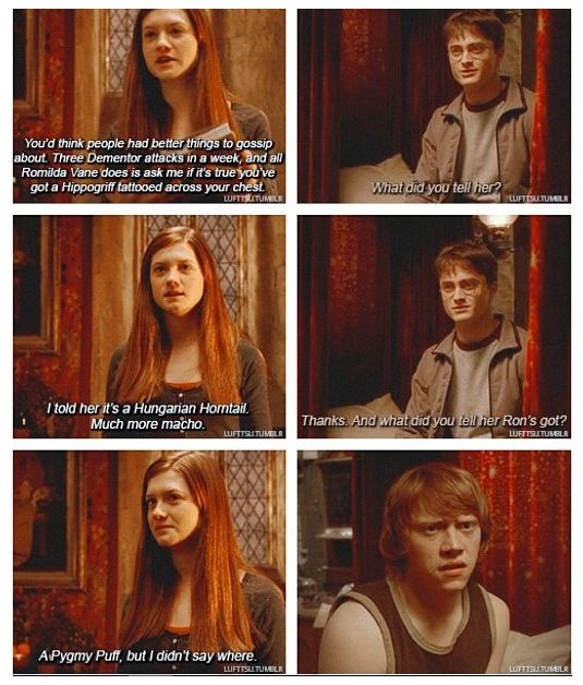 I hate that they made the movie Ginny so much less awesome than the book Ginny. And no, it was not Bonnie Wright's fault, it was the writers' fault that all of her badassness was left out of the scripts. Like this exchange, for example.