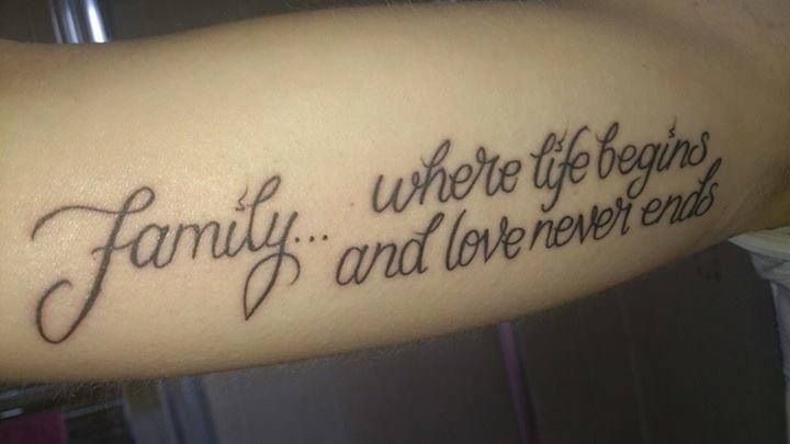 Family where life begins and love never ends tattoo www for Family saying tattoos